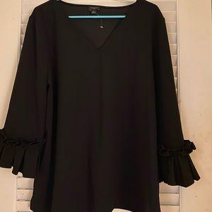 Black Ann Taylor Factory Ruffle Sleeve Blouse XL